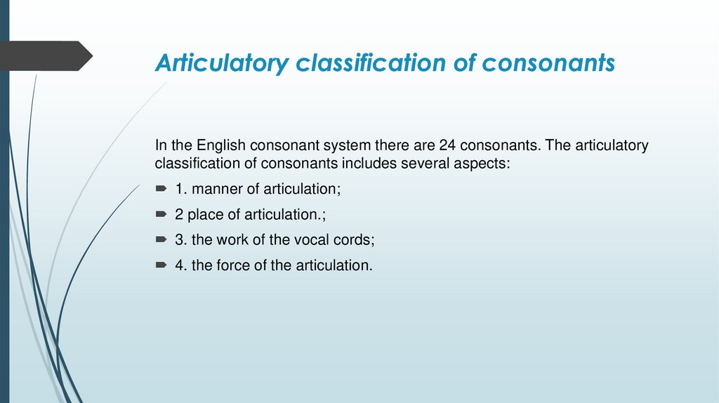 Articulatory classification of consonants