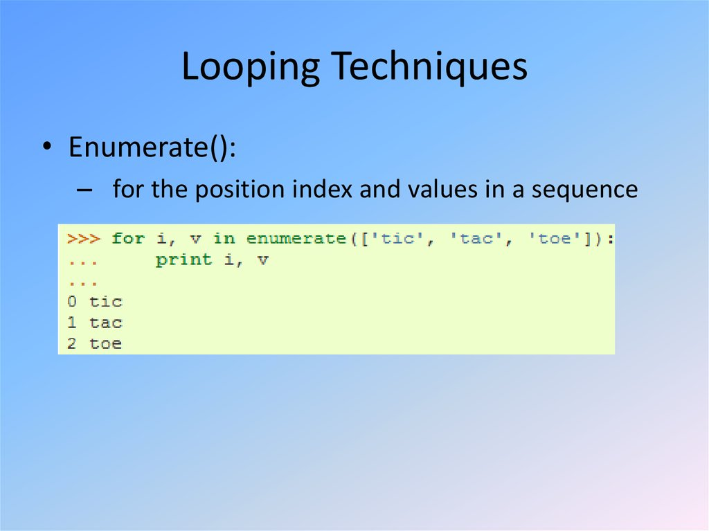 Looping Techniques