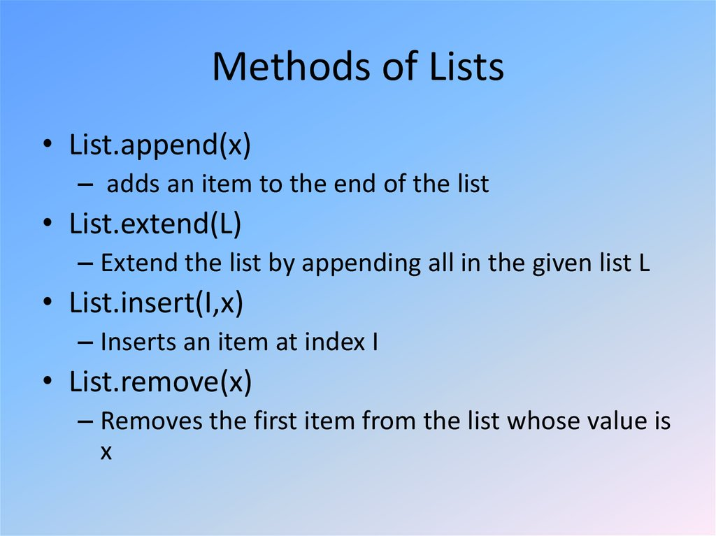 Methods of Lists