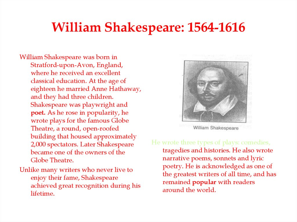 William Shakespeare: 1564-1616