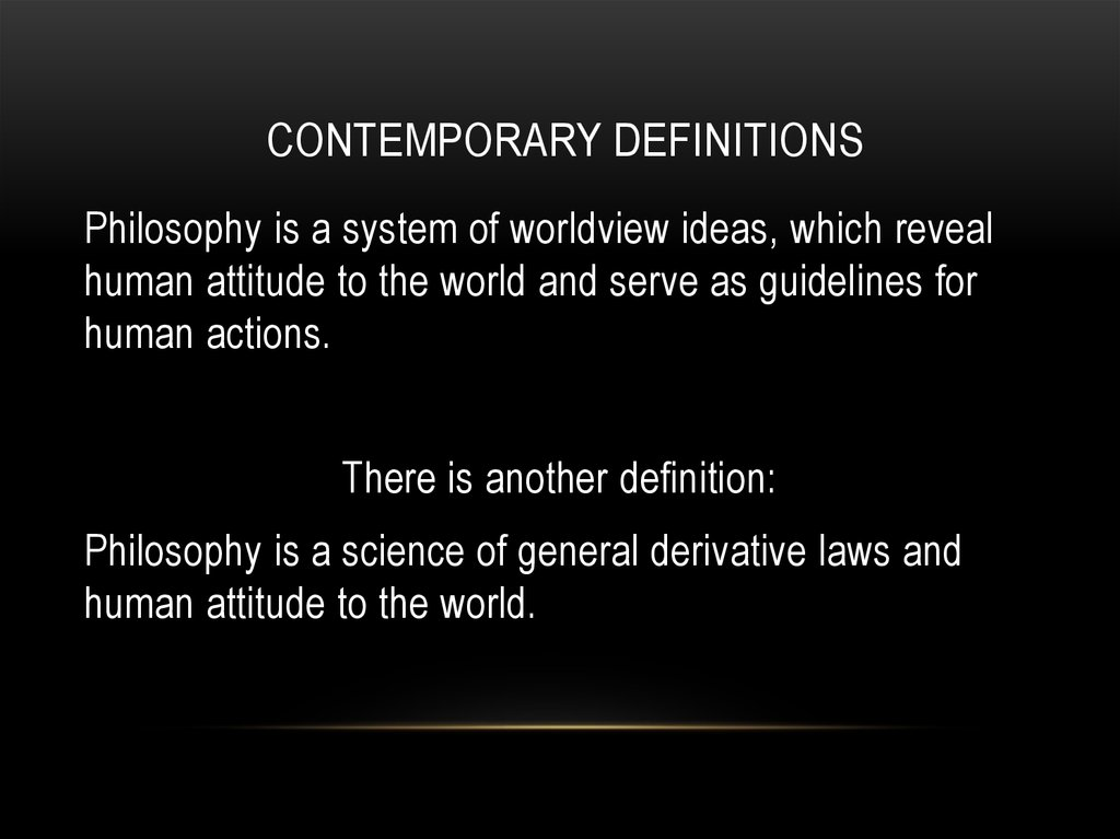 Contemporary definitions