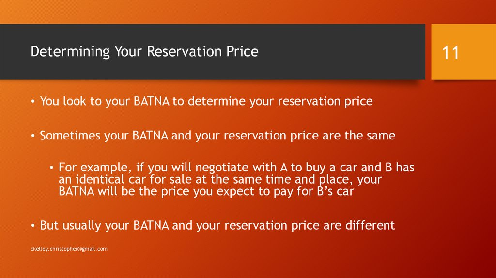 Determining Your Reservation Price
