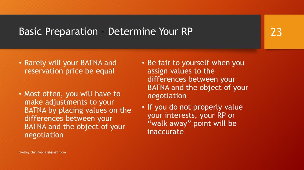 Basic Preparation – Determine Your RP