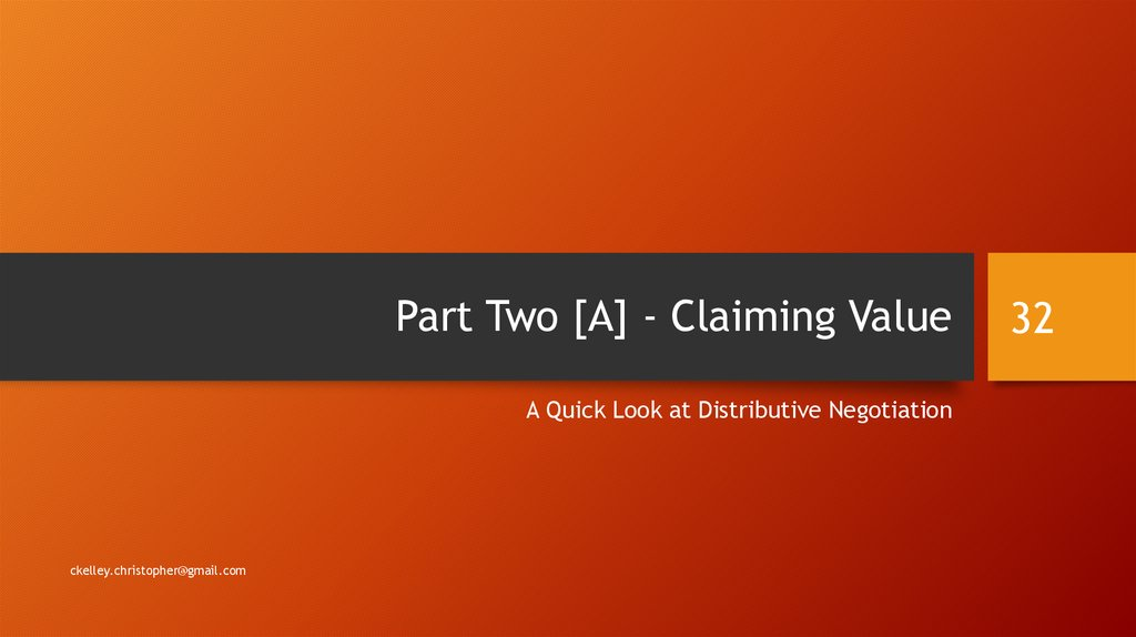 Part Two [A] - Claiming Value