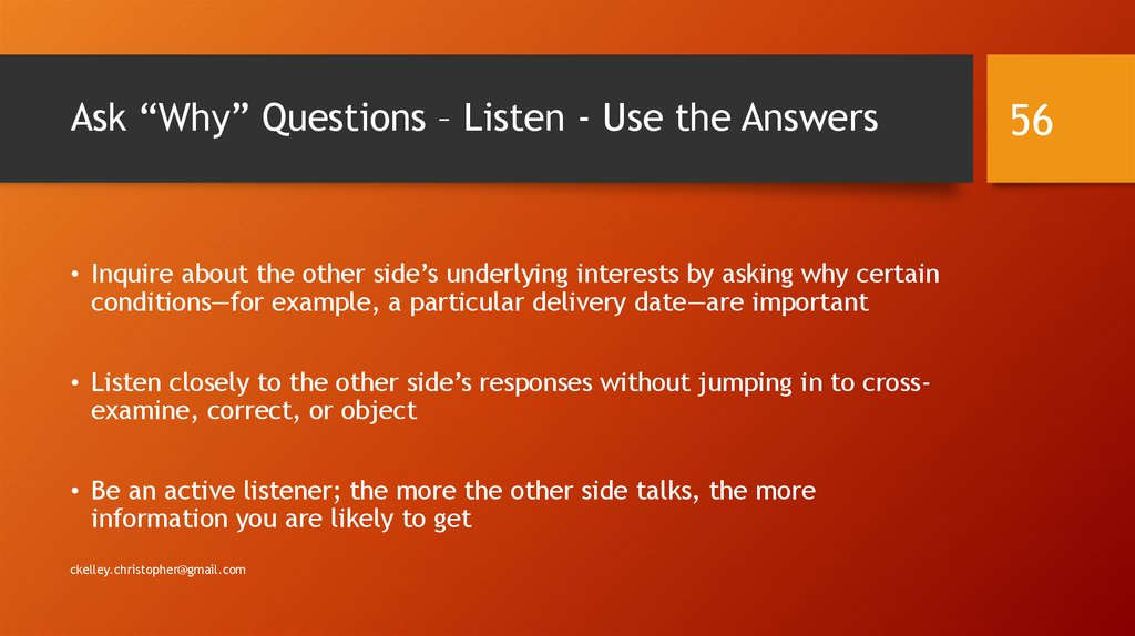 "Ask ""Why"" Questions – Listen - Use the Answers"