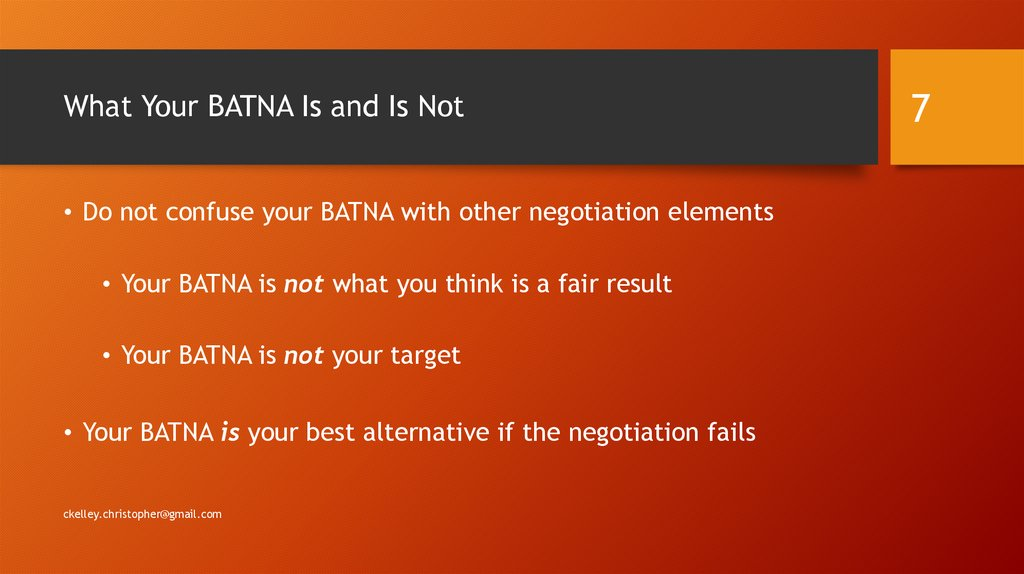 What Your BATNA Is and Is Not