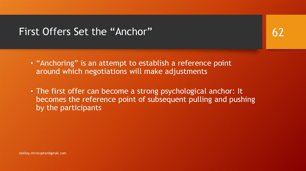 "First Offers Set the ""Anchor"""