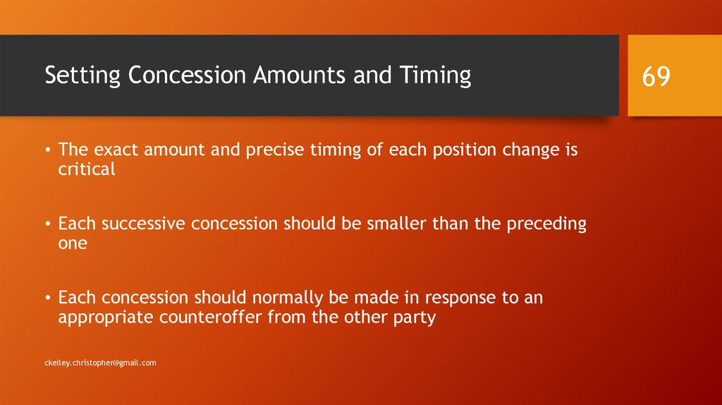 Setting Concession Amounts and Timing