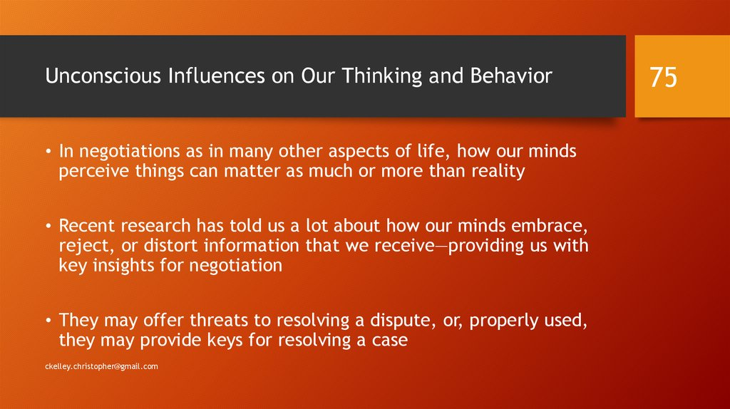 Unconscious Influences on Our Thinking and Behavior