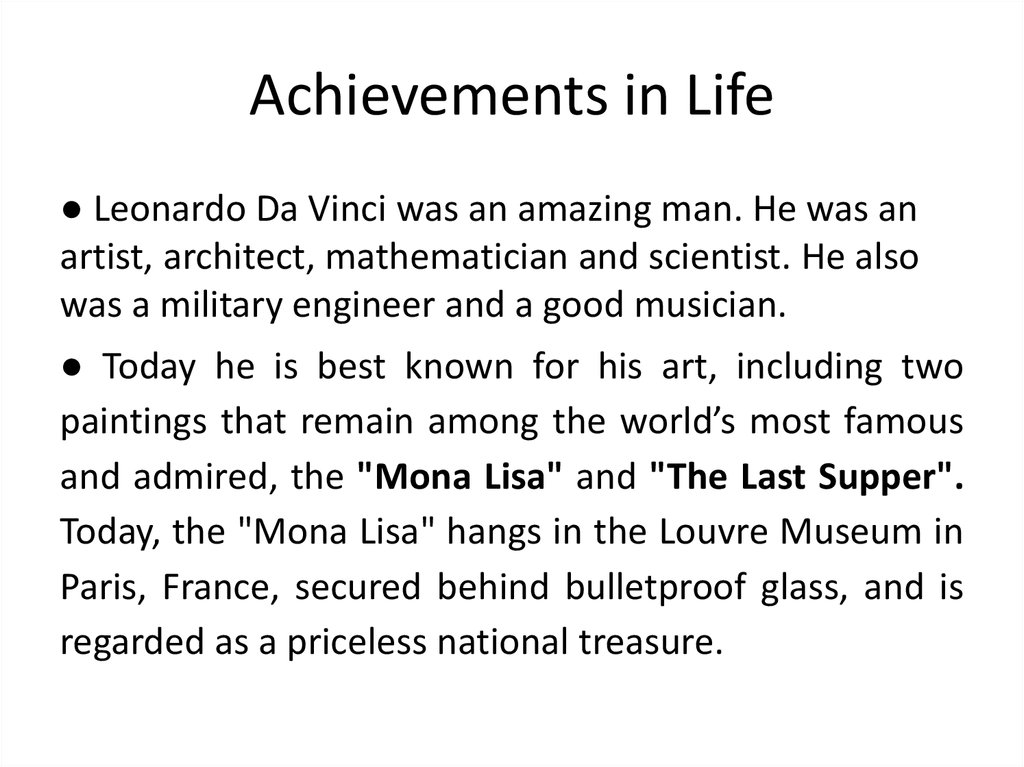 Achievements in Life