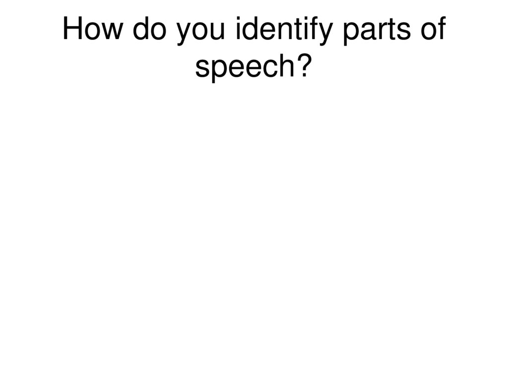 How do you identify parts of speech?