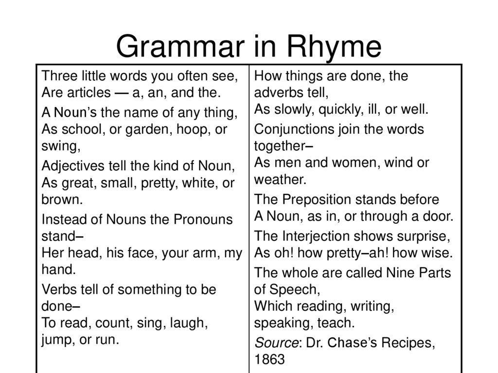 Grammar in Rhyme