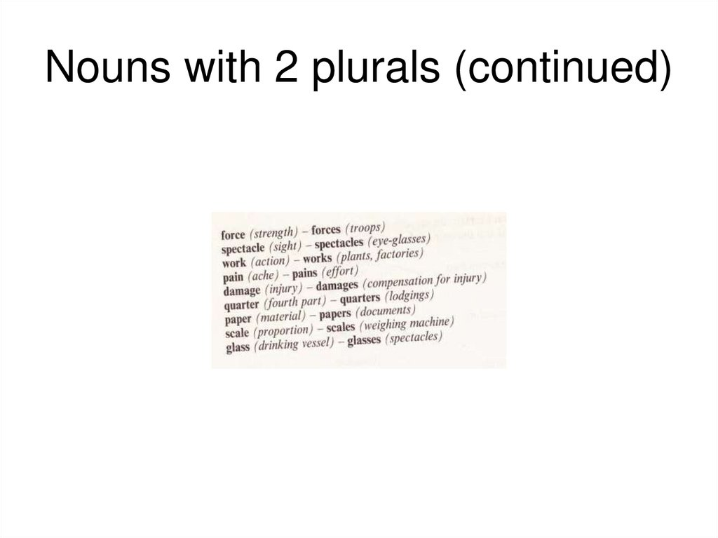 Nouns with 2 plurals (continued)