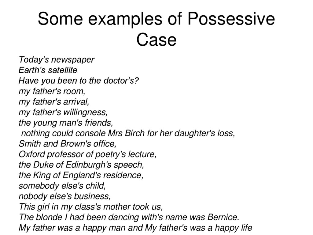 Some examples of Possessive Case
