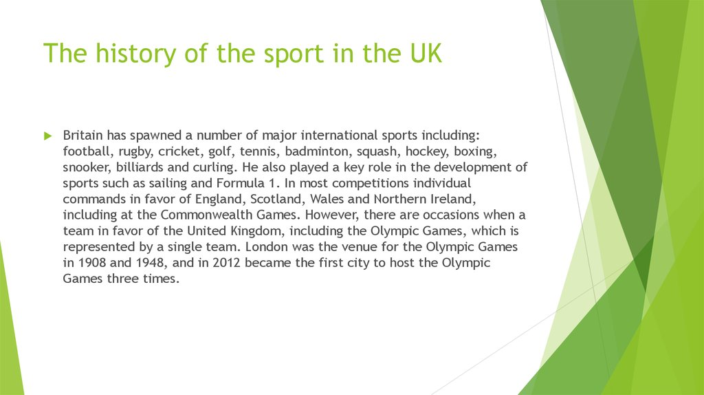The history of the sport in the UK