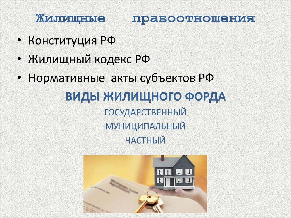 жилищные правоотношения презентация