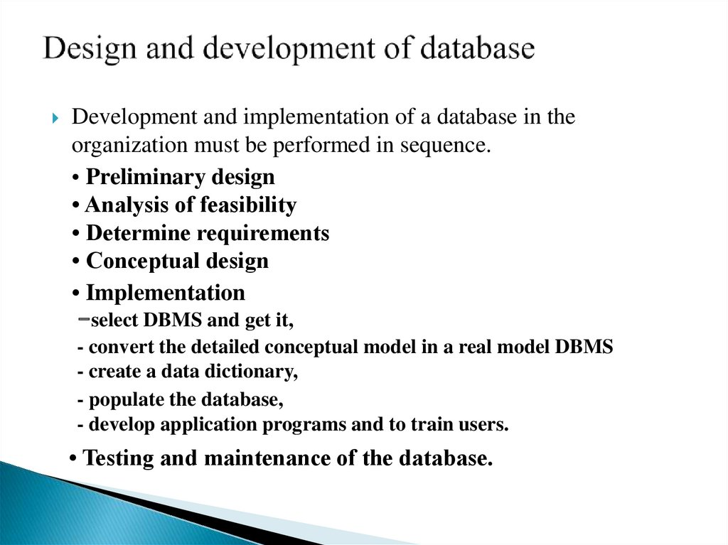 Design and development of database