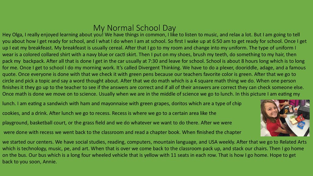 My Normal School Day