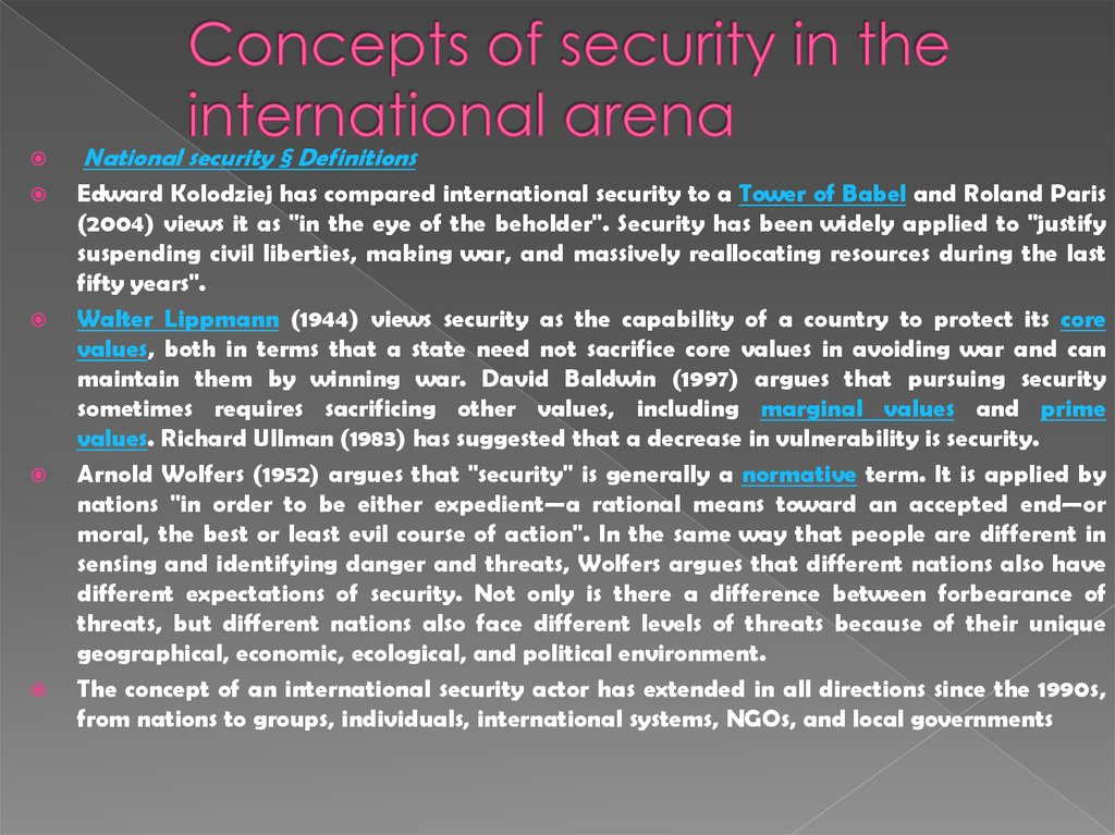Concepts of security in the international arena