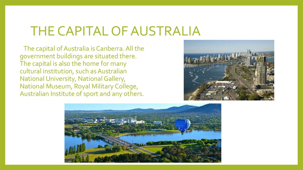 THE CAPITAL OF AUSTRALIA