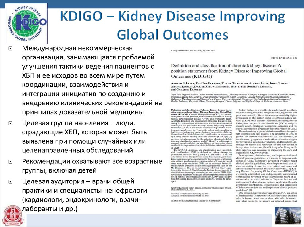 KDIGO – Kidney Disease Improving Global Outcomes