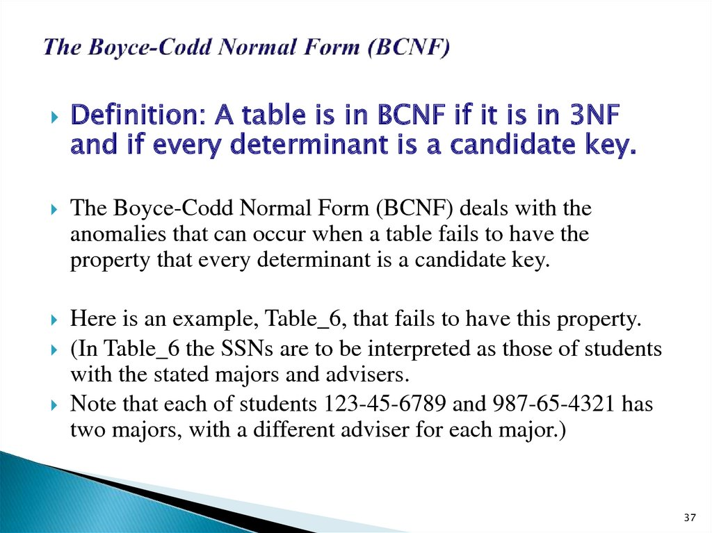 The Boyce-Codd Normal Form (BCNF)