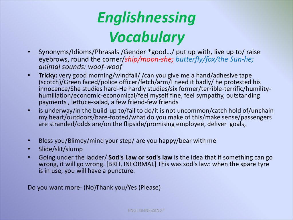 Englishnessing Vocabulary
