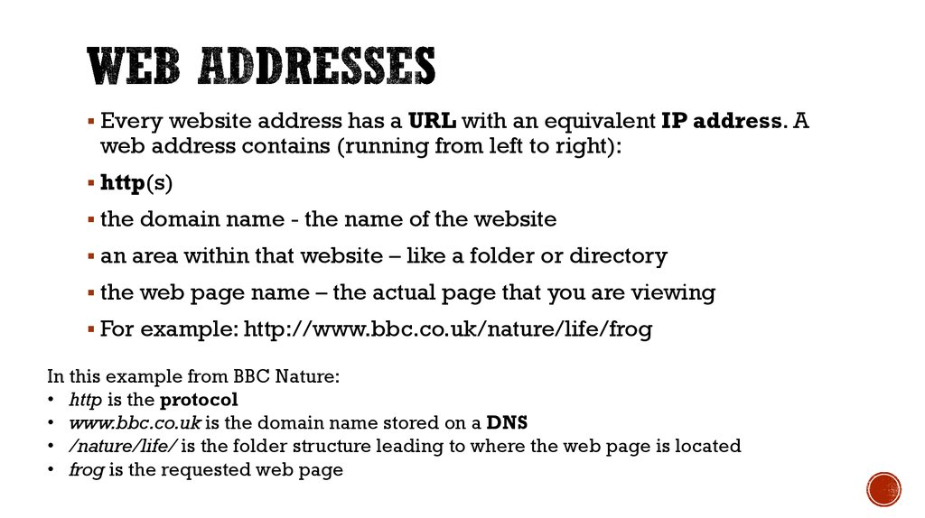 Web addresses