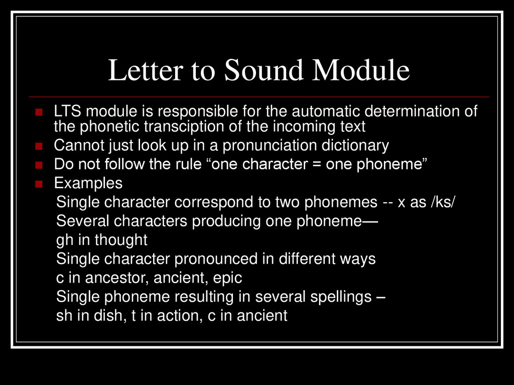 Letter to Sound Module