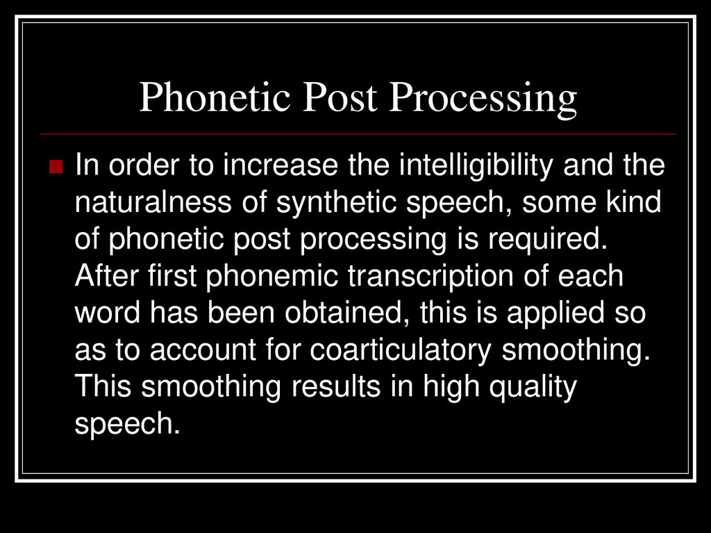 Phonetic Post Processing