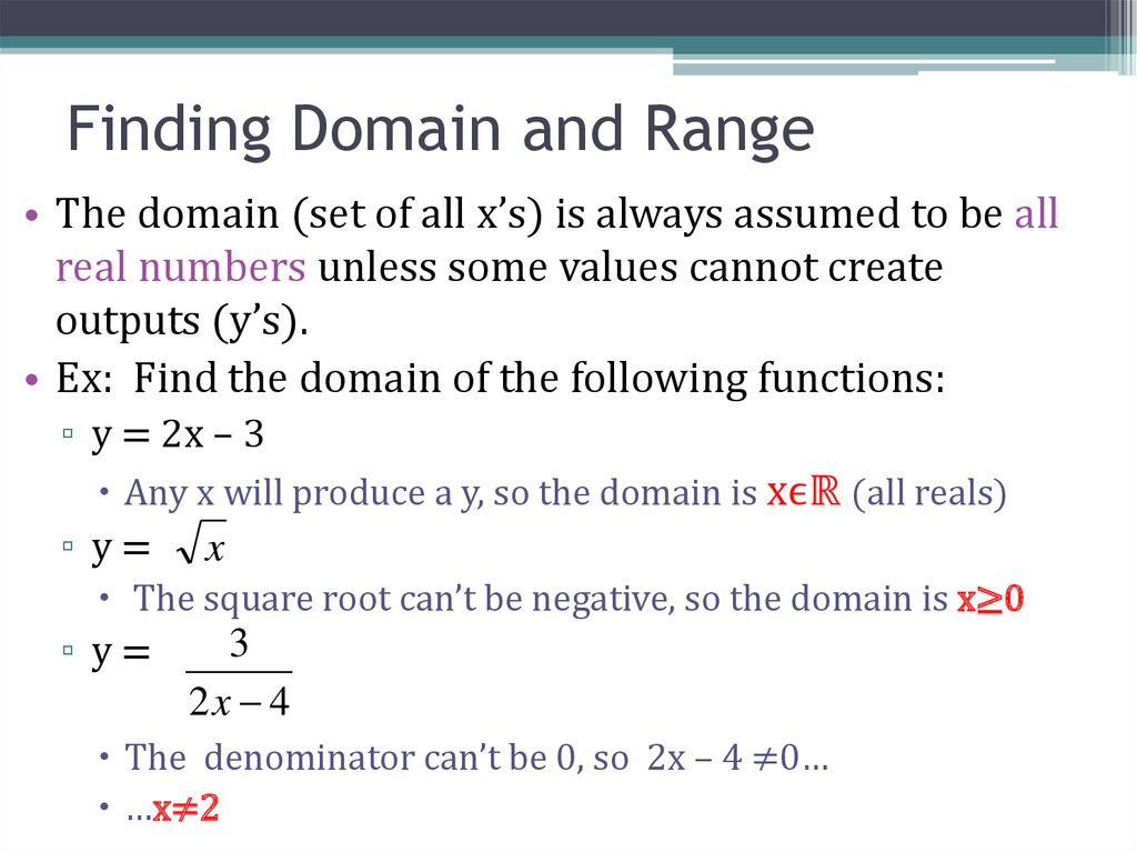 Finding Domain and Range