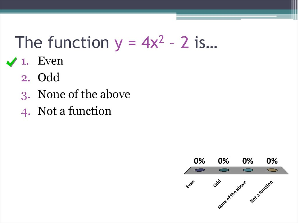 The function y = 4x2 – 2 is…