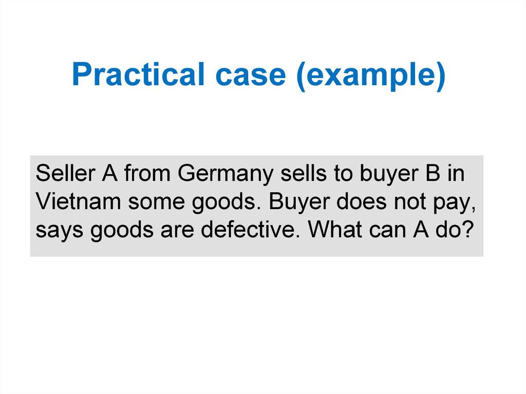 Practical case (example)