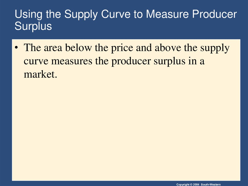 Using the Supply Curve to Measure Producer Surplus