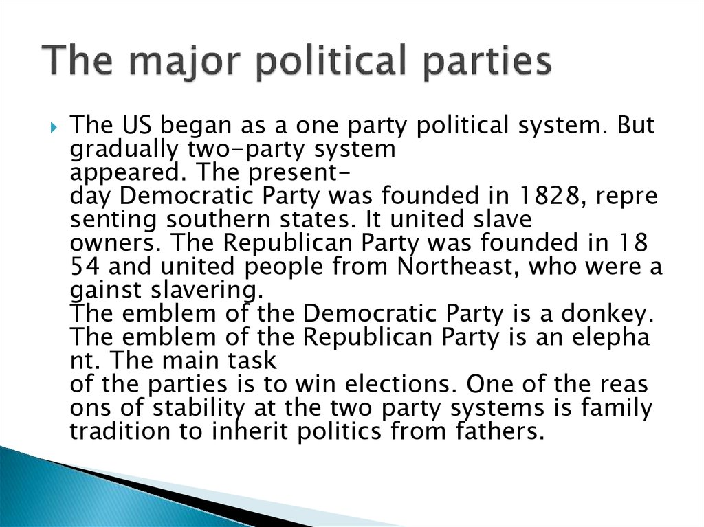 The major political parties