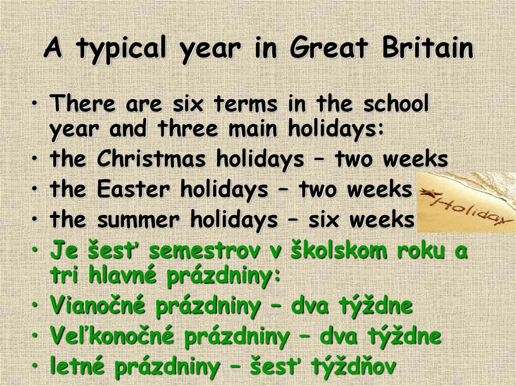 A typical year in Great Britain