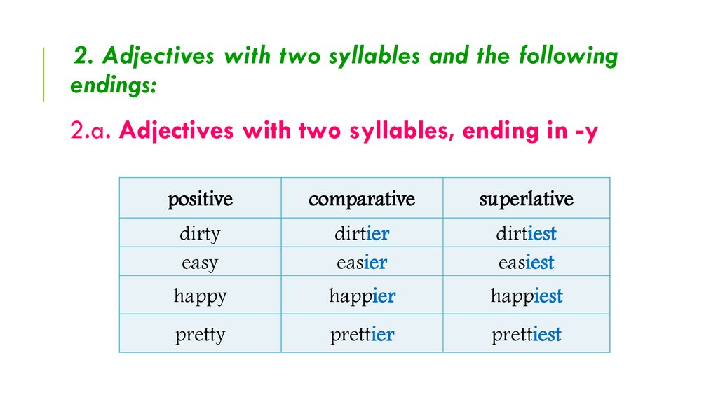 2. Adjectives with two syllables and the following endings: