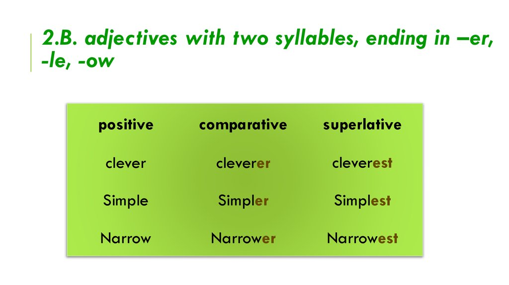 2.B. adjectives with two syllables, ending in –er, -le, -ow