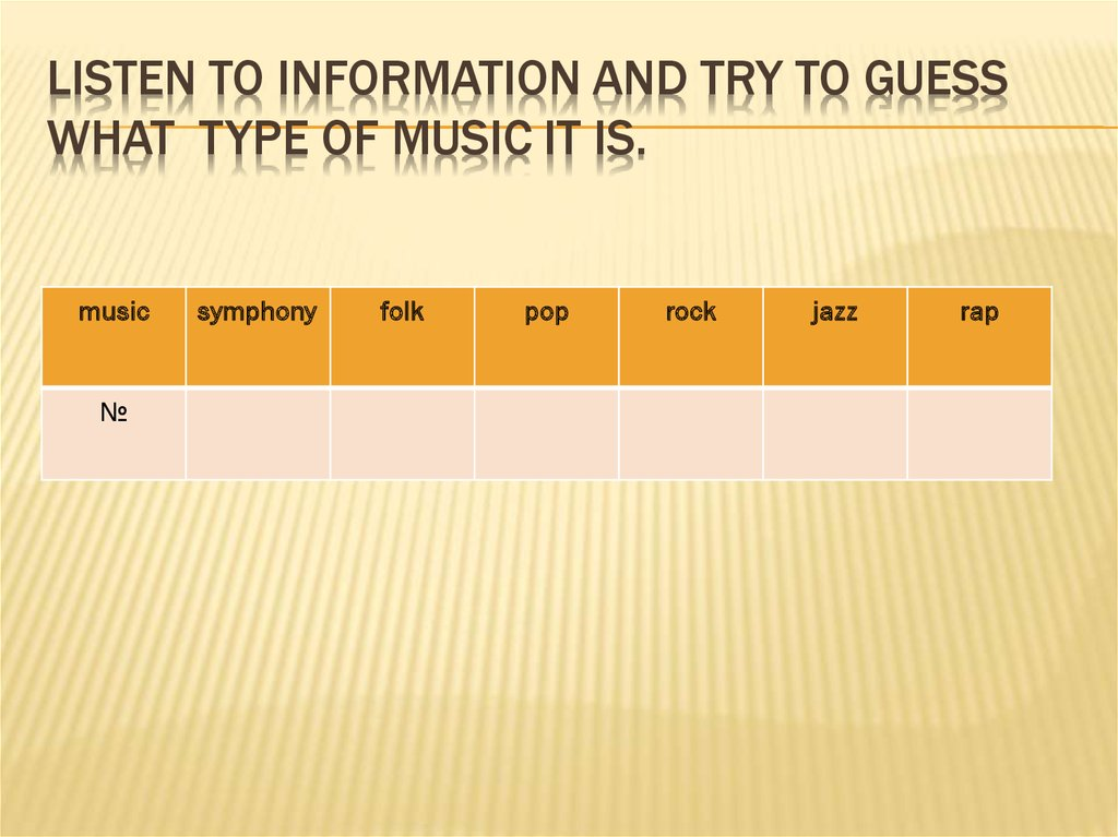 Listen to information and try to guess what type of music it is.
