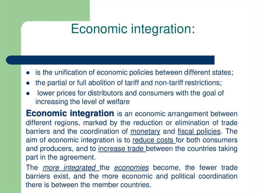 Economic integration: