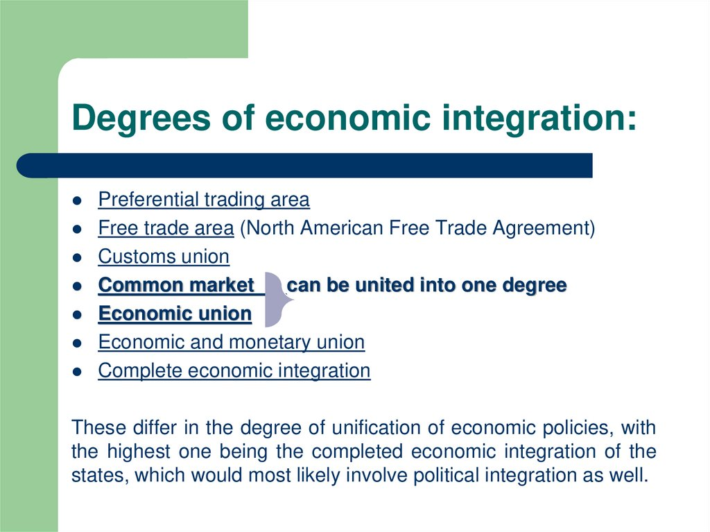 Degrees of economic integration: