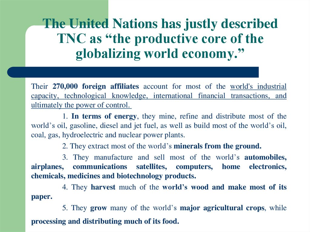 "The United Nations has justly described TNC as ""the productive core of the globalizing world economy."""