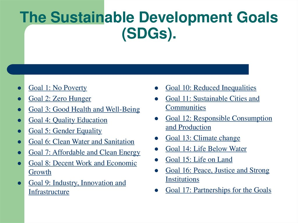 The Sustainable Development Goals (SDGs).