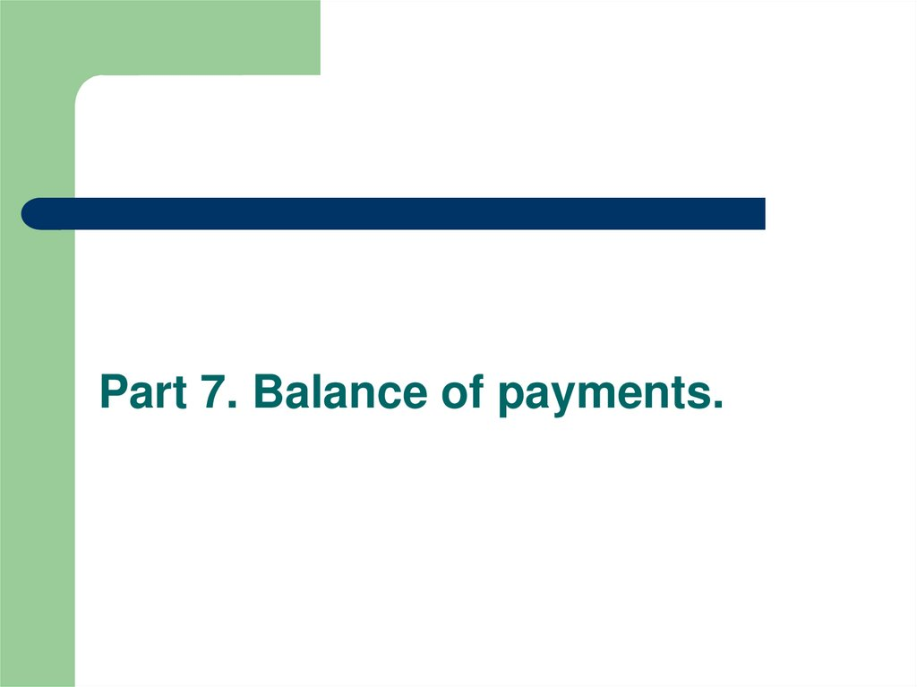 Part 7. Balance of payments.