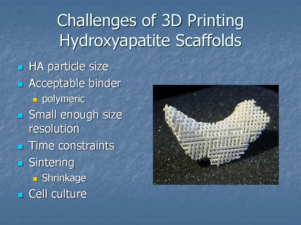 Challenges of 3D Printing Hydroxyapatite Scaffolds