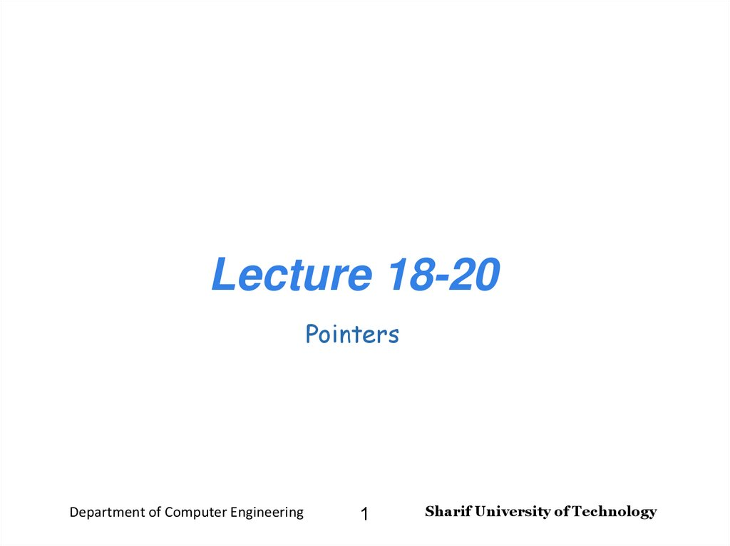 Lecture 18-20