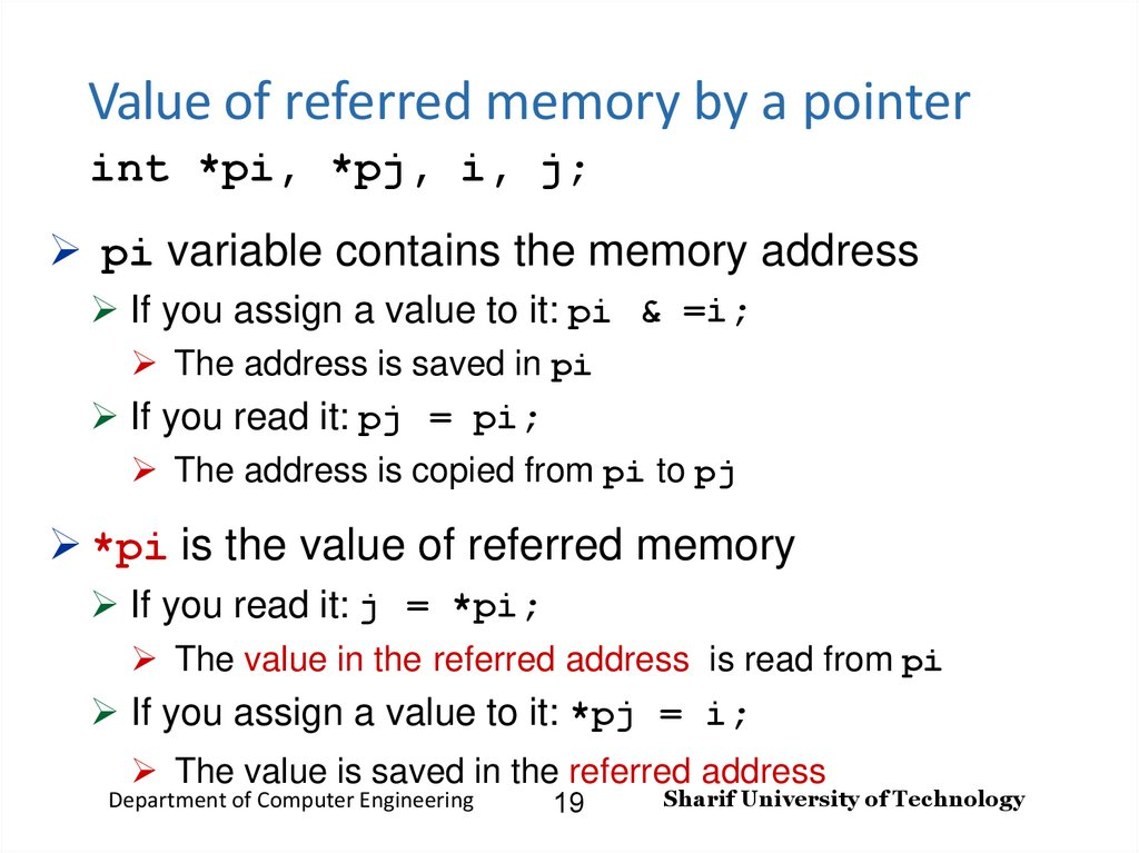 Value of referred memory by a pointer