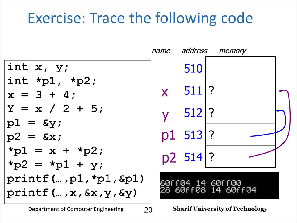 Exercise: Trace the following code