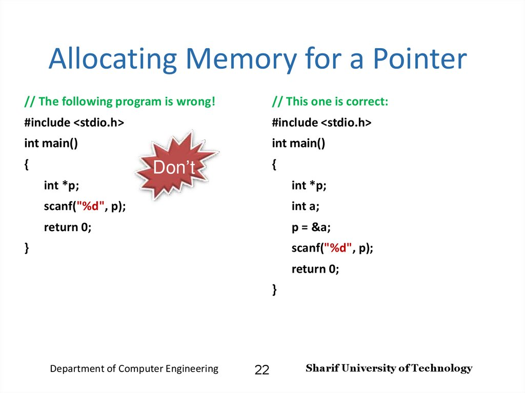 Allocating Memory for a Pointer