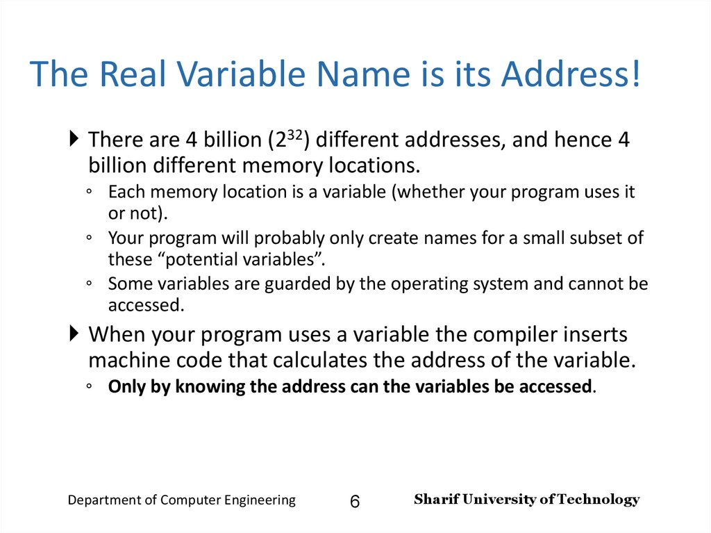 The Real Variable Name is its Address!